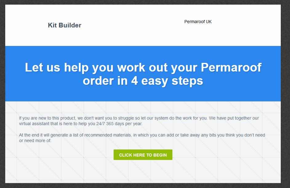 Step one | Permaroof Kit Builder
